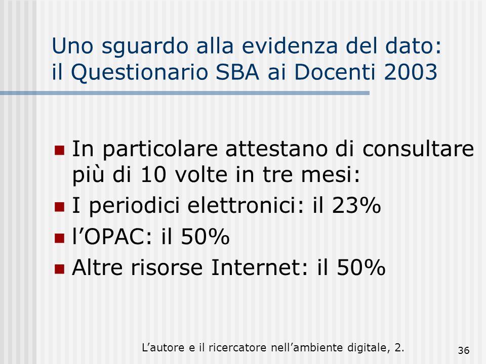 Lautore e il ricercatore nellambiente digitale, 2. 36 Uno sguardo alla evidenza del dato: il Questionario SBA ai Docenti 2003 In particolare attestano