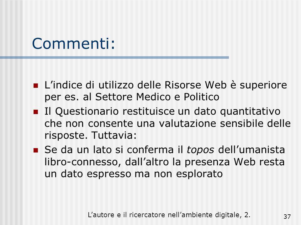 Lautore e il ricercatore nellambiente digitale, 2. 37 Commenti: Lindice di utilizzo delle Risorse Web è superiore per es. al Settore Medico e Politico