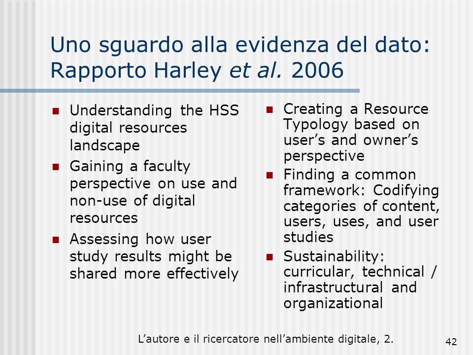 Lautore e il ricercatore nellambiente digitale, 2. 42 Uno sguardo alla evidenza del dato: Rapporto Harley et al. 2006 Understanding the HSS digital re