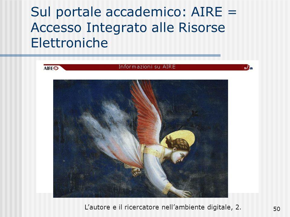 Lautore e il ricercatore nellambiente digitale, 2. 50 Sul portale accademico: AIRE = Accesso Integrato alle Risorse Elettroniche