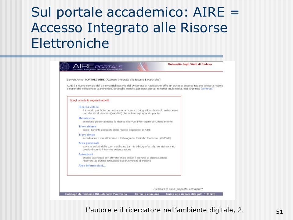 Lautore e il ricercatore nellambiente digitale, 2. 51 Sul portale accademico: AIRE = Accesso Integrato alle Risorse Elettroniche