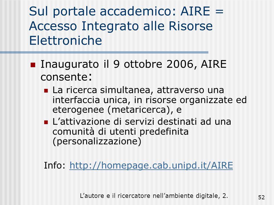 Lautore e il ricercatore nellambiente digitale, 2. 52 Sul portale accademico: AIRE = Accesso Integrato alle Risorse Elettroniche Inaugurato il 9 ottob