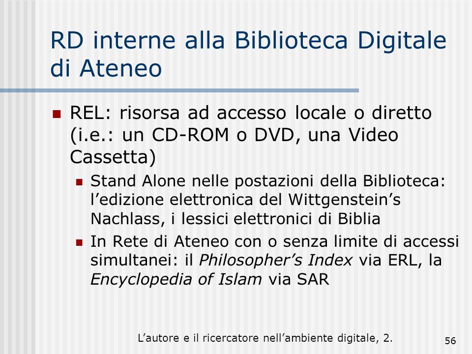 Lautore e il ricercatore nellambiente digitale, 2. 56 RD interne alla Biblioteca Digitale di Ateneo REL: risorsa ad accesso locale o diretto (i.e.: un