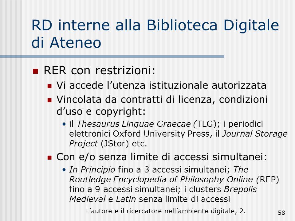 Lautore e il ricercatore nellambiente digitale, 2. 58 RD interne alla Biblioteca Digitale di Ateneo RER con restrizioni: Vi accede lutenza istituziona