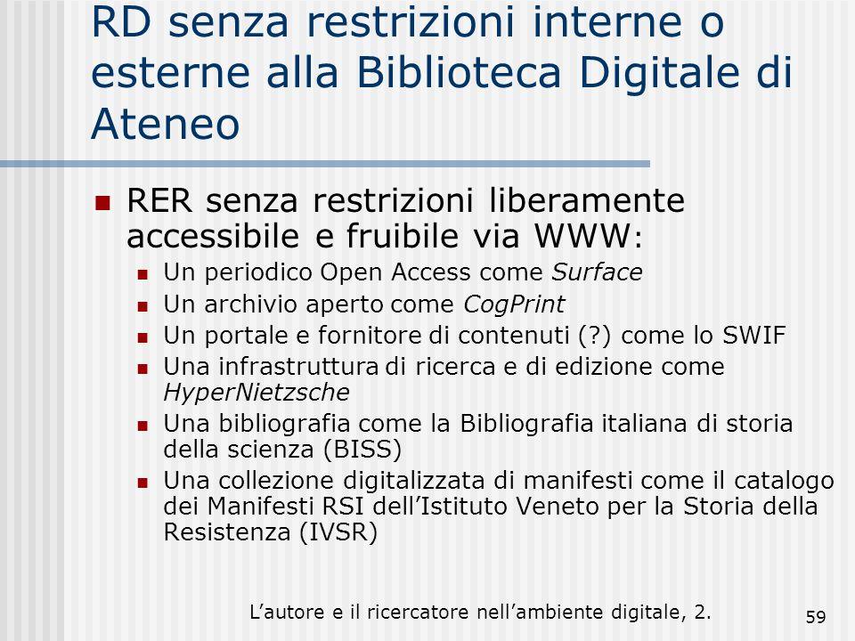 Lautore e il ricercatore nellambiente digitale, 2. 59 RD senza restrizioni interne o esterne alla Biblioteca Digitale di Ateneo RER senza restrizioni