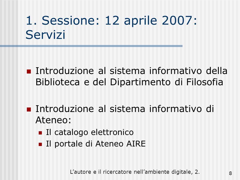 Lautore e il ricercatore nellambiente digitale, 2. 8 1. Sessione: 12 aprile 2007: Servizi Introduzione al sistema informativo della Biblioteca e del D