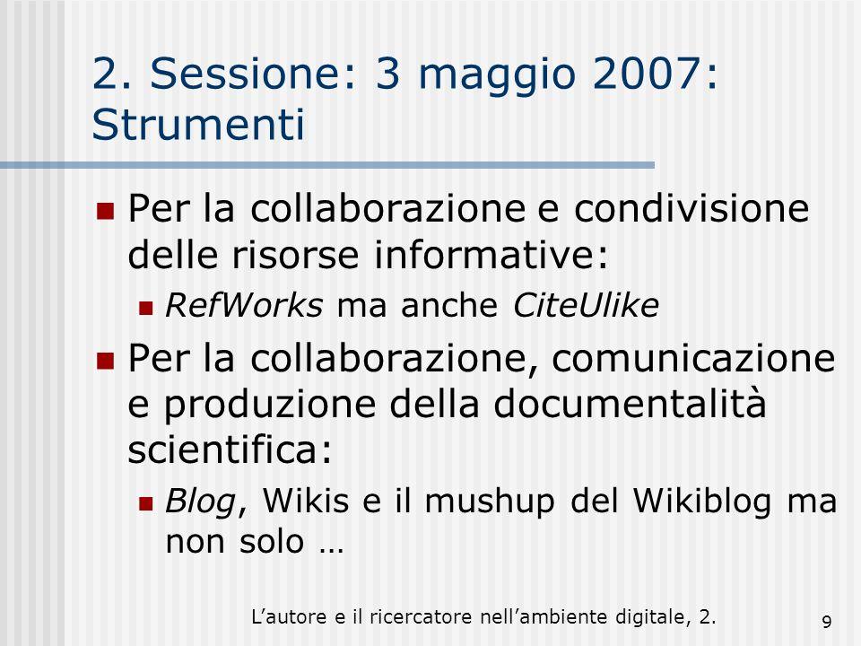 Lautore e il ricercatore nellambiente digitale, 2. 9 2. Sessione: 3 maggio 2007: Strumenti Per la collaborazione e condivisione delle risorse informat