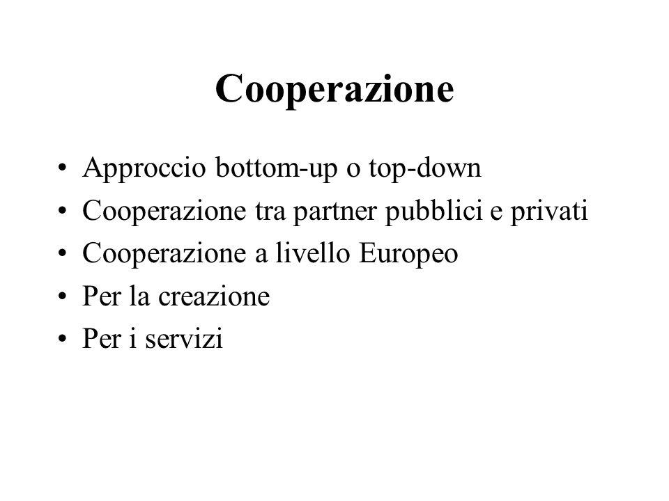 Cooperazione Approccio bottom-up o top-down Cooperazione tra partner pubblici e privati Cooperazione a livello Europeo Per la creazione Per i servizi