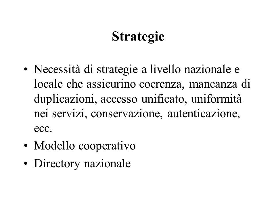 Strategie Necessità di strategie a livello nazionale e locale che assicurino coerenza, mancanza di duplicazioni, accesso unificato, uniformità nei servizi, conservazione, autenticazione, ecc.