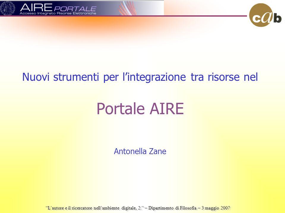 Nuovi strumenti per lintegrazione tra risorse nel Portale AIRE Antonella Zane Lautore e il ricercatore nellambiente digitale, 2.