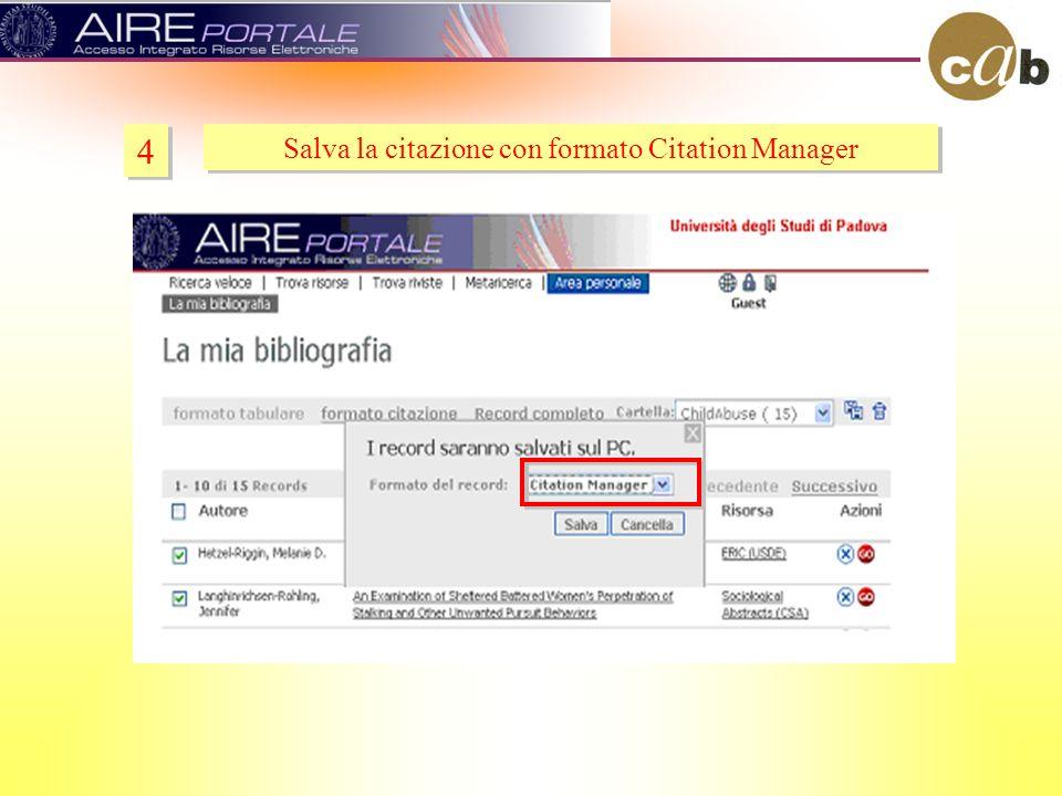 4 4 Salva la citazione con formato Citation Manager