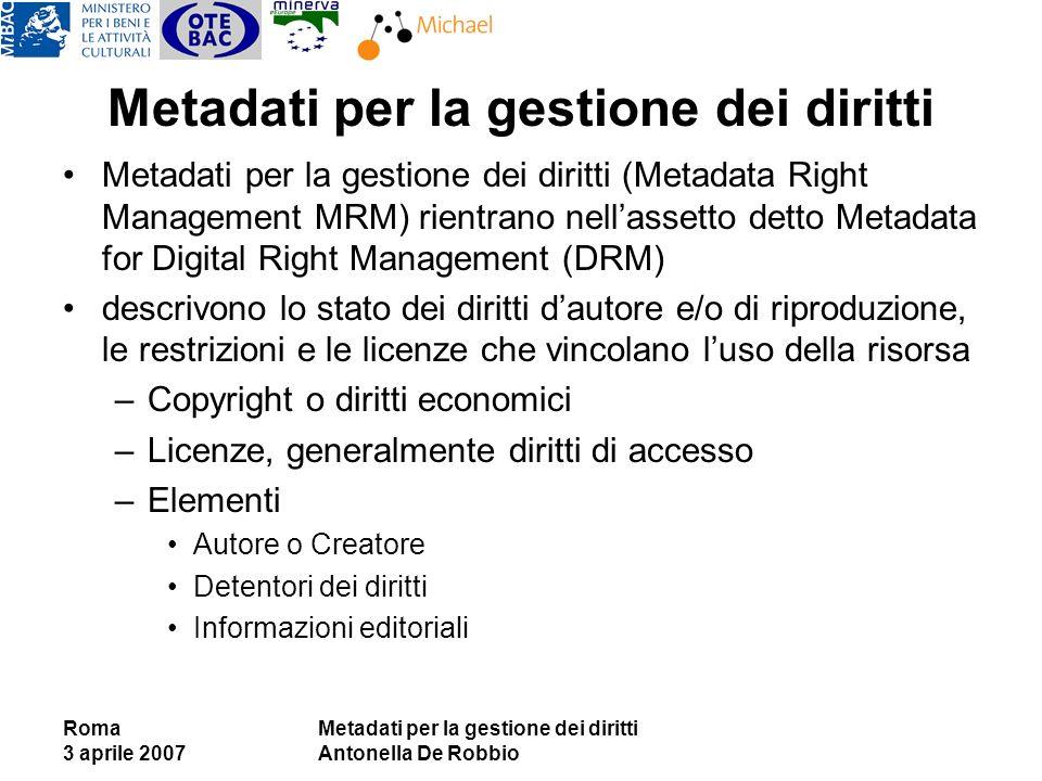 Roma 3 aprile 2007 Metadati per la gestione dei diritti Antonella De Robbio Metadati per la gestione dei diritti Metadati per la gestione dei diritti