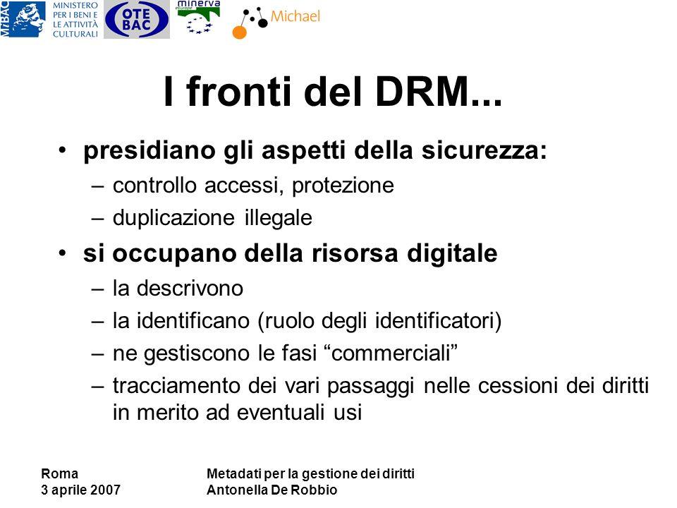 Roma 3 aprile 2007 Metadati per la gestione dei diritti Antonella De Robbio I fronti del DRM... presidiano gli aspetti della sicurezza: –controllo acc
