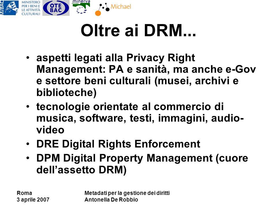 Roma 3 aprile 2007 Metadati per la gestione dei diritti Antonella De Robbio Oltre ai DRM... aspetti legati alla Privacy Right Management: PA e sanità,