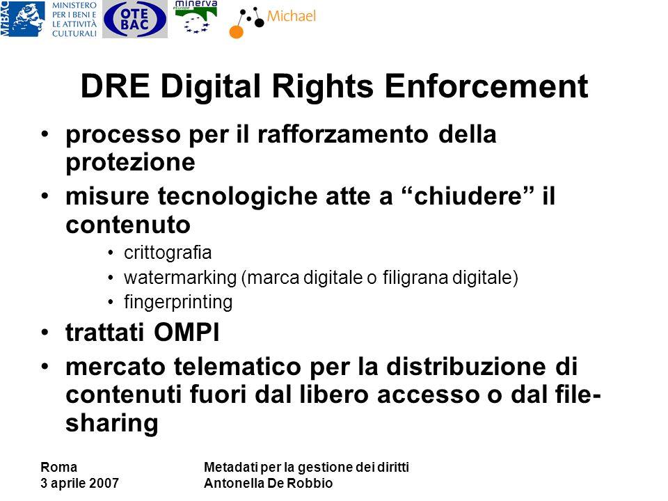 Roma 3 aprile 2007 Metadati per la gestione dei diritti Antonella De Robbio DRE Digital Rights Enforcement processo per il rafforzamento della protezi