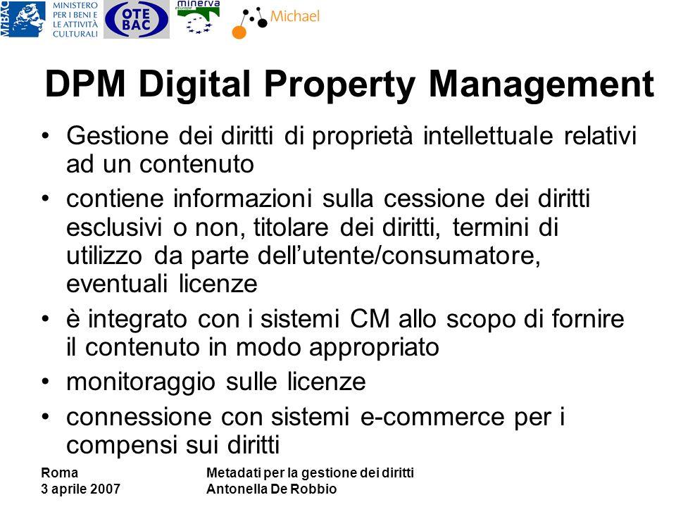 Roma 3 aprile 2007 Metadati per la gestione dei diritti Antonella De Robbio DPM Digital Property Management Gestione dei diritti di proprietà intellet