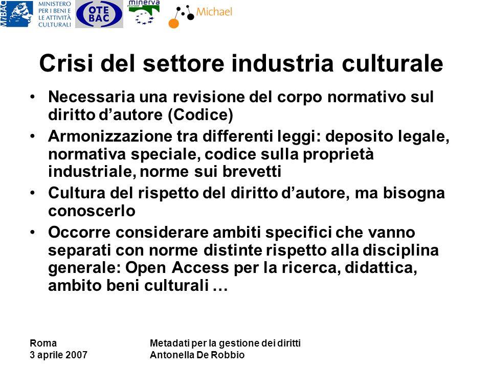 Roma 3 aprile 2007 Metadati per la gestione dei diritti Antonella De Robbio Crisi del settore industria culturale Necessaria una revisione del corpo n