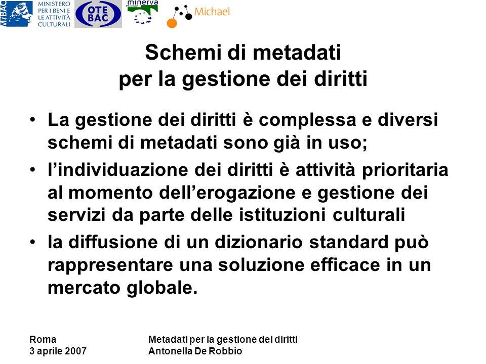 Roma 3 aprile 2007 Metadati per la gestione dei diritti Antonella De Robbio Schemi di metadati per la gestione dei diritti La gestione dei diritti è c