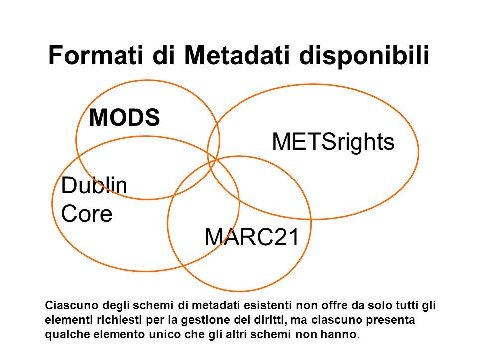 Formati di Metadati disponibili MODS Dublin Core MARC21 METSrights Ciascuno degli schemi di metadati esistenti non offre da solo tutti gli elementi richiesti per la gestione dei diritti, ma ciascuno presenta qualche elemento unico che gli altri schemi non hanno.