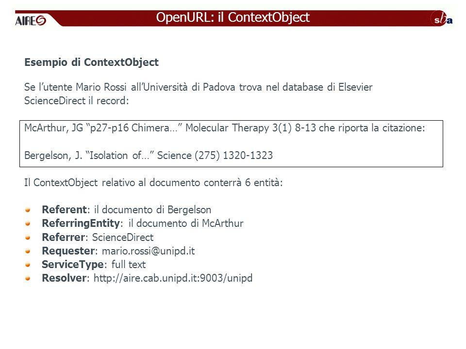 OpenURL: il ContextObject Esempio di ContextObject Se lutente Mario Rossi allUniversità di Padova trova nel database di Elsevier ScienceDirect il reco