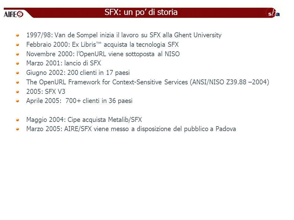 1997/98: Van de Sompel inizia il lavoro su SFX alla Ghent University Febbraio 2000: Ex Libris acquista la tecnologia SFX Novembre 2000: lOpenURL viene sottoposta al NISO Marzo 2001: lancio di SFX Giugno 2002: 200 clienti in 17 paesi The OpenURL Framework for Context-Sensitive Services (ANSI/NISO Z39.88 –2004) 2005: SFX V3 Aprile 2005: 700+ clienti in 36 paesi Maggio 2004: Cipe acquista Metalib/SFX Marzo 2005: AIRE/SFX viene messo a disposizione del pubblico a Padova SFX: un po di storia