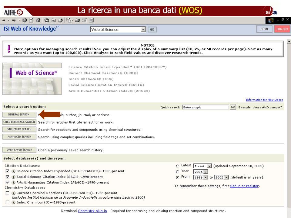 La ricerca in una banca dati (WOS)(WOS)