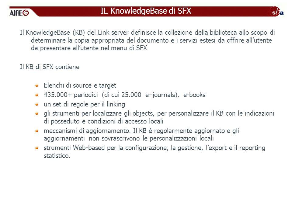 Il KnowledgeBase (KB) del Link server definisce la collezione della biblioteca allo scopo di determinare la copia appropriata del documento e i servizi estesi da offrire allutente da presentare allutente nel menu di SFX Il KB di SFX contiene Elenchi di source e target 435.000+ periodici (di cui 25.000 e–journals), e-books un set di regole per il linking gli strumenti per localizzare gli objects, per personalizzare il KB con le indicazioni di posseduto e condizioni di accesso locali meccanismi di aggiornamento.
