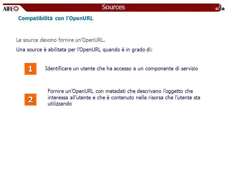 Identificare un utente che ha accesso a un componente di servizio Compatibilità con lOpenURL 1 2 Fornire unOpenURL con metadati che descrivano loggett