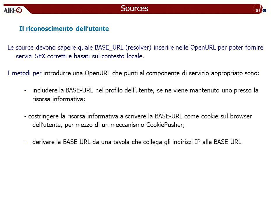 Le source devono sapere quale BASE_URL (resolver) inserire nelle OpenURL per poter fornire servizi SFX corretti e basati sul contesto locale.