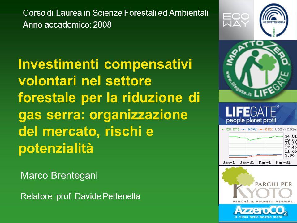 Investimenti compensativi volontari nel settore forestale per la riduzione di gas serra: organizzazione del mercato, rischi e potenzialità Marco Brentegani Relatore: prof.