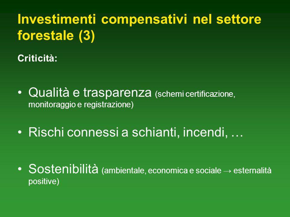 Investimenti compensativi nel settore forestale (3) Criticità: Qualità e trasparenza (schemi certificazione, monitoraggio e registrazione) Rischi connessi a schianti, incendi, … Sostenibilità (ambientale, economica e sociale esternalità positive)
