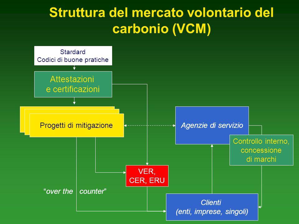 Struttura del mercato volontario del carbonio (VCM) Agenzie di servizio Clienti (enti, imprese, singoli) Progetti di mitigazione Controllo interno, concessione di marchi Attestazioni e certificazioni VER, CER, ERU over the counter Stardard Codici di buone pratiche