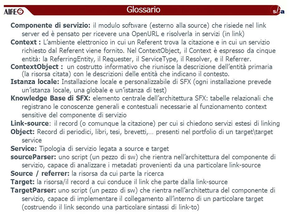 Componente di servizio: il modulo software (esterno alla source) che risiede nel link server ed è pensato per ricevere una OpenURL e risolverla in ser