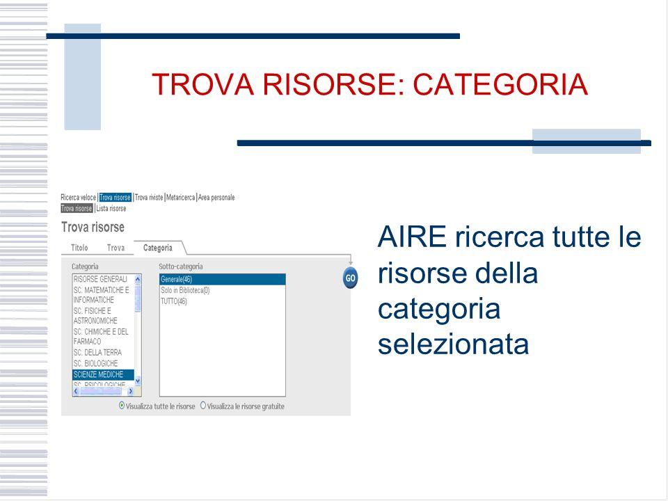 TROVA RISORSE: CATEGORIA AIRE ricerca tutte le risorse della categoria selezionata