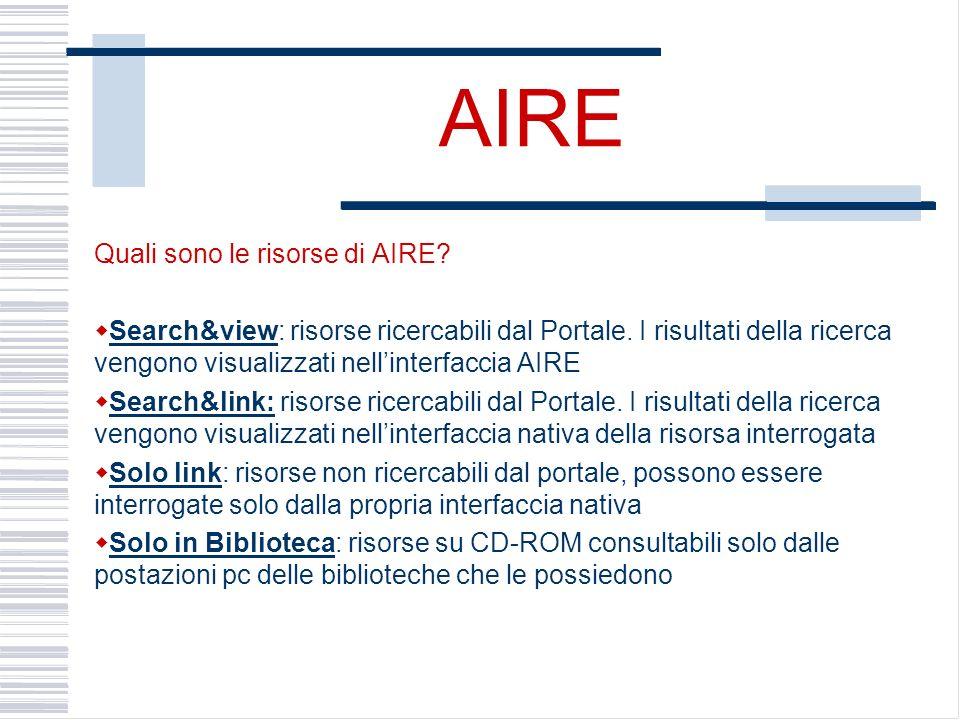 AIRE Quali sono le risorse di AIRE. Search&view: risorse ricercabili dal Portale.