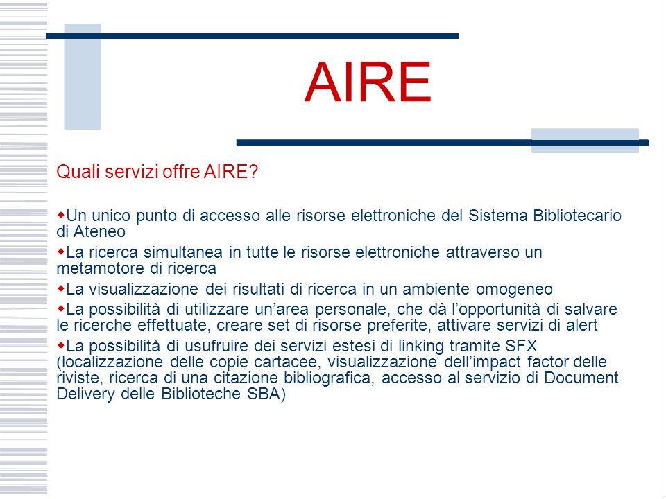 AIRE Quali servizi offre AIRE.