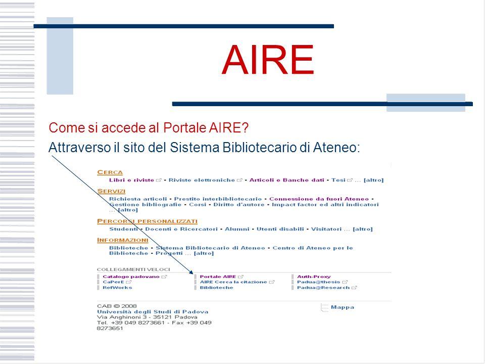 AIRE Come si accede al Portale AIRE Attraverso il sito del Sistema Bibliotecario di Ateneo: