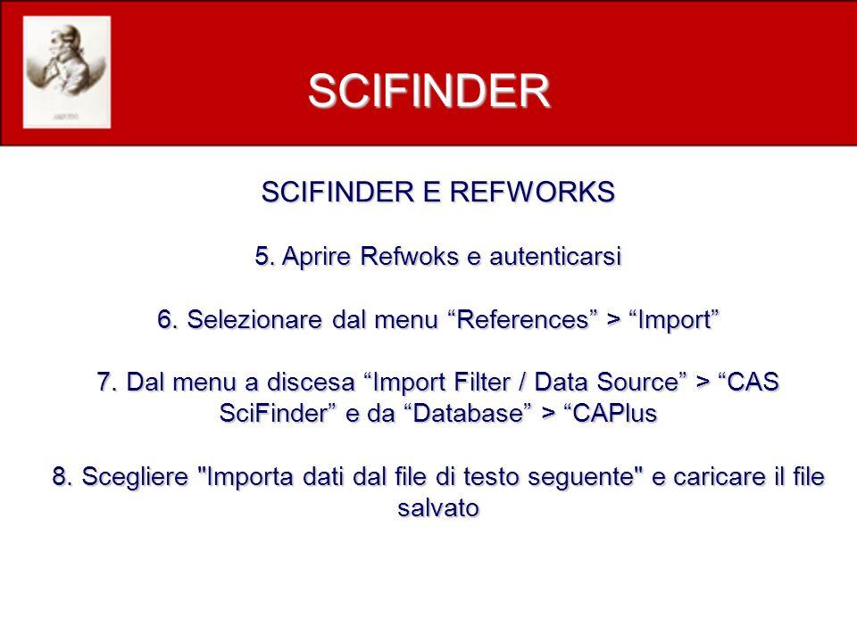 SCIFINDER E REFWORKS 5. Aprire Refwoks e autenticarsi 6.