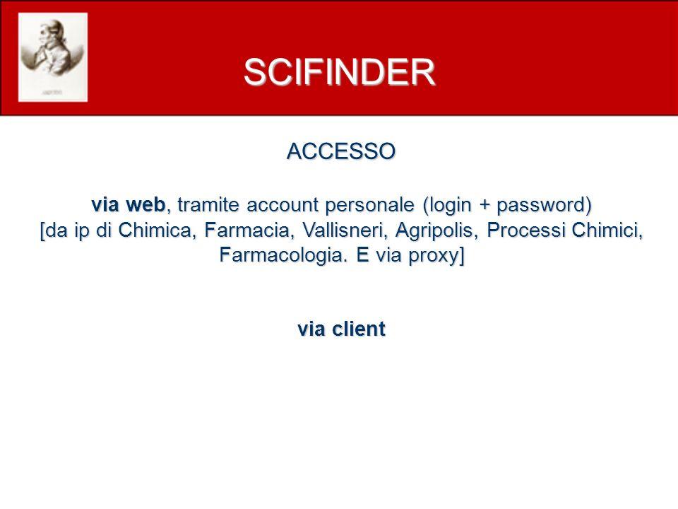 ACCESSO via web, tramite account personale (login + password) [da ip di Chimica, Farmacia, Vallisneri, Agripolis, Processi Chimici, Farmacologia.