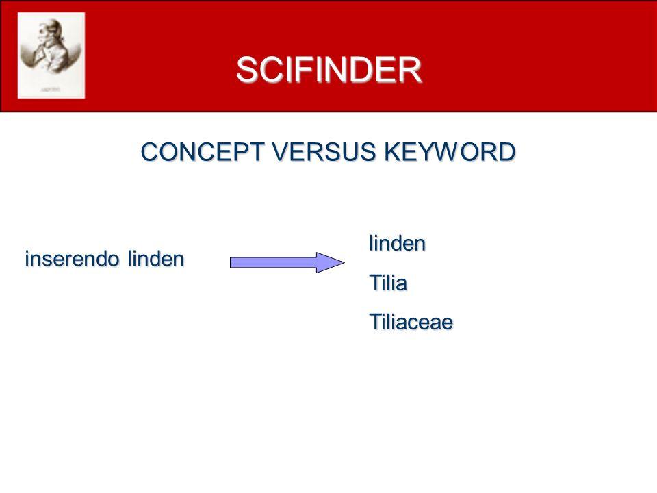 inserendo linden lindenTiliaTiliaceae SCIFINDER CONCEPT VERSUS KEYWORD