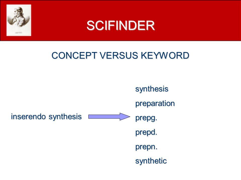 inserendo synthesis synthesispreparationprepg.prepd.prepn.synthetic SCIFINDER CONCEPT VERSUS KEYWORD
