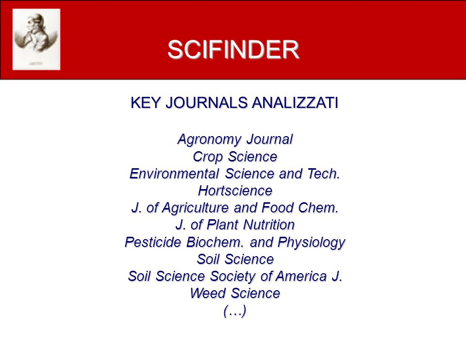 KEY JOURNALS ANALIZZATI Agronomy Journal Crop Science Environmental Science and Tech. Hortscience J. of Agriculture and Food Chem. J. of Plant Nutriti