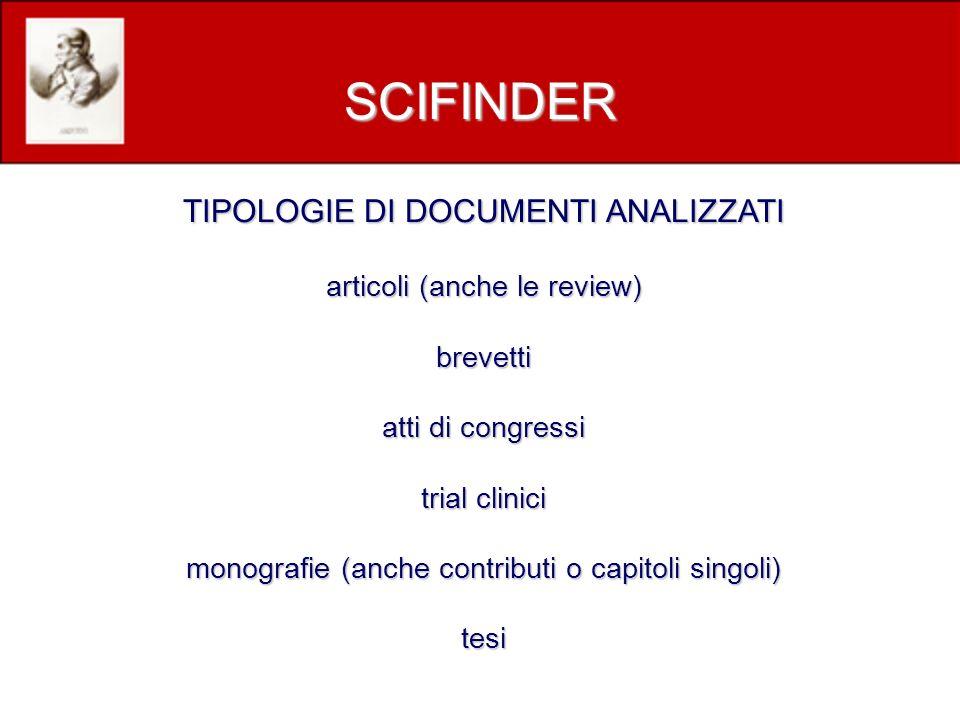TIPOLOGIE DI DOCUMENTI ANALIZZATI articoli (anche le review) brevetti atti di congressi trial clinici monografie (anche contributi o capitoli singoli) tesi SCIFINDER
