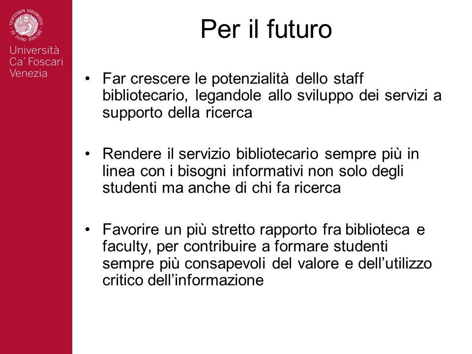 Per il futuro Far crescere le potenzialità dello staff bibliotecario, legandole allo sviluppo dei servizi a supporto della ricerca Rendere il servizio