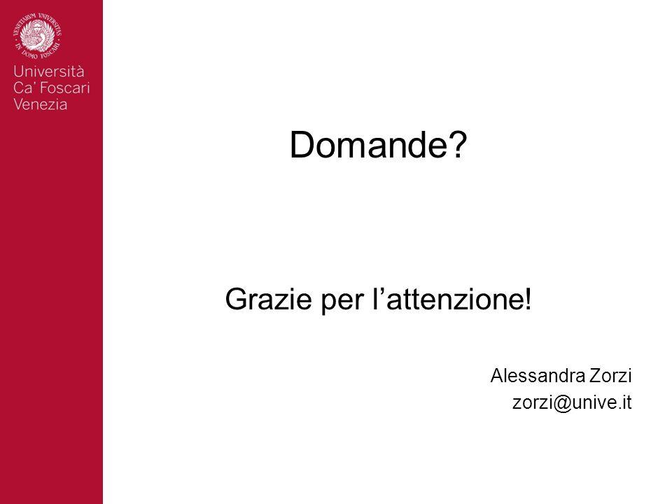 Domande? Grazie per lattenzione! Alessandra Zorzi zorzi@unive.it