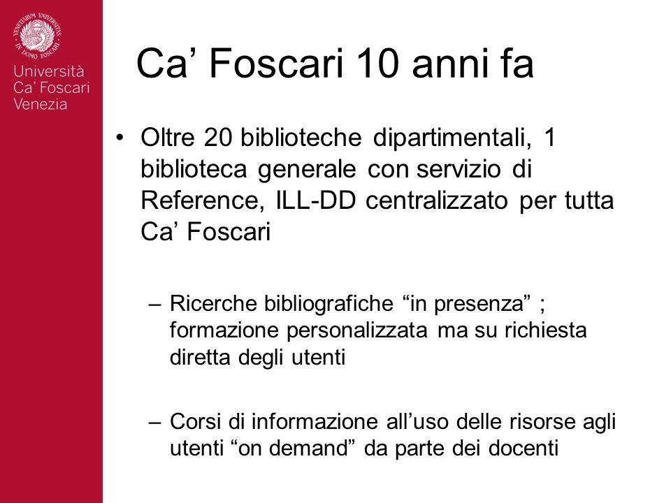 Ca Foscari 10 anni fa Oltre 20 biblioteche dipartimentali, 1 biblioteca generale con servizio di Reference, ILL-DD centralizzato per tutta Ca Foscari