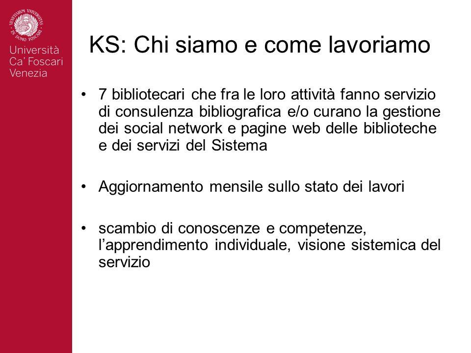 KS: Chi siamo e come lavoriamo 7 bibliotecari che fra le loro attività fanno servizio di consulenza bibliografica e/o curano la gestione dei social ne