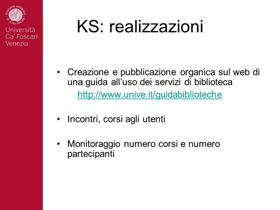KS: realizzazioni Creazione e pubblicazione organica sul web di una guida alluso dei servizi di biblioteca http://www.unive.it/guidabiblioteche Incont