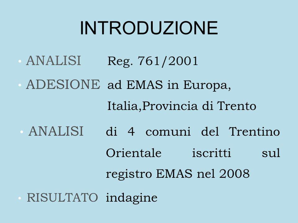 INTRODUZIONE ANALISI Reg. 761/2001 ADESIONE ad EMAS in Europa, Italia,Provincia di Trento ANALISI di 4 comuni del Trentino Orientale iscritti sul regi