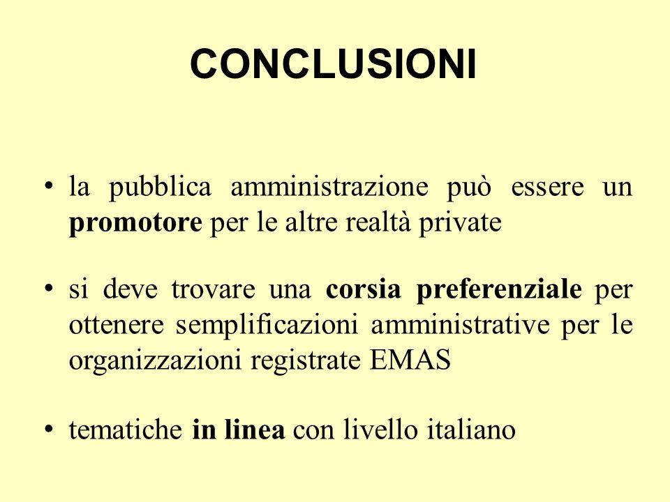 CONCLUSIONI la pubblica amministrazione può essere un promotore per le altre realtà private si deve trovare una corsia preferenziale per ottenere semplificazioni amministrative per le organizzazioni registrate EMAS tematiche in linea con livello italiano